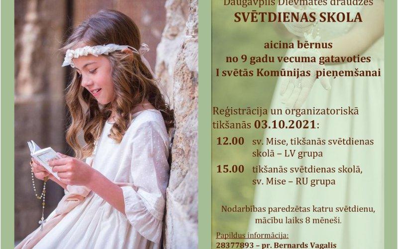 Svētdienas skola aicina bērnus gatavoties I svētās Komūnijas  pieņemšanai